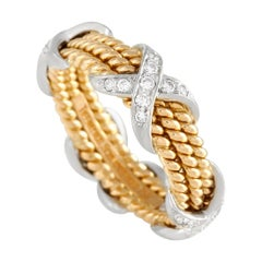 Tiffany & Co. Schlumberger 18k Yellow and White Gold Diamond Three-Row X Ring