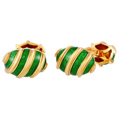 Tiffany & Co. Schlumberger 18 Karat Yellow Gold and Enamel Oval Cufflinks