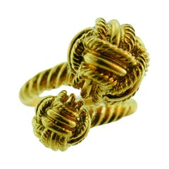 Tiffany & Co. Schlumberger 18k Yellow Gold Bypass Knot Ring Vintage & Rare