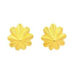 Tiffany & Co. Schlumberger 18k Yellow Gold Shell Clip Earrings