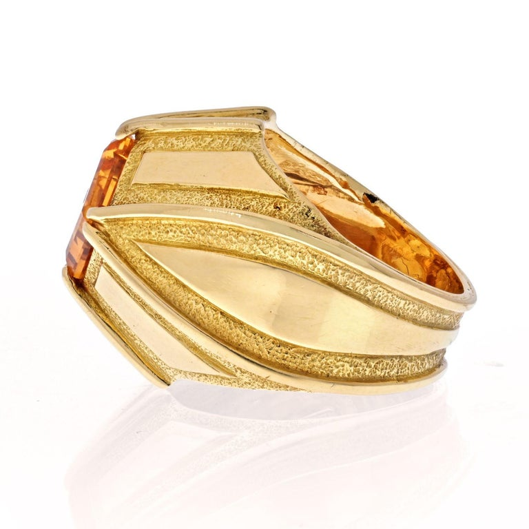 Modern Tiffany & Co. Schlumberger 18K Yellow Gold Vintage Citrine Ring For Sale