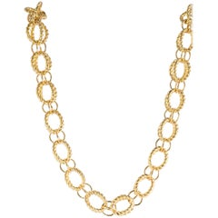 Tiffany & Co. Schlumberger 18 Karat Yellow Gold Circle Rope Chain Necklace