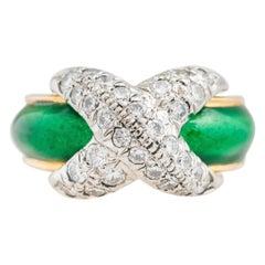 Tiffany & Co. Schlumberger 18ky Diamond and Green Enamel X Ring