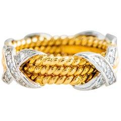 Tiffany & Co. Schlumberger 18 Karat Yellow Diamond Rope X Design Ring