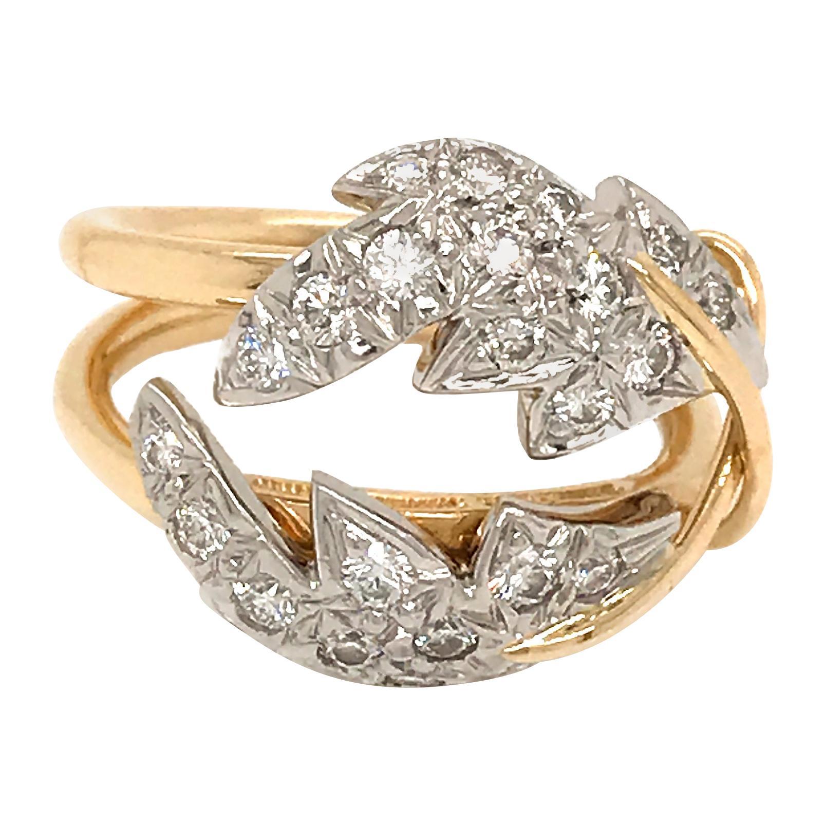 Tiffany & Co. Schlumberger 2-Leaf Diamond Ring