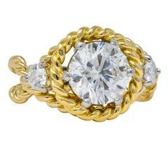 Tiffany & Co. Schlumberger 2.50 Carat Diamond Platinum 18 Karat Gold Ring