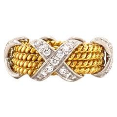 Tiffany & Co. Schlumberger 4-Row Diamond X-Band Ring 18K Yellow Gold/Platinum