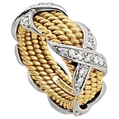 Tiffany & Co. Schlumberger 4 Row X Diamond Ring 18 Karat and Platinum