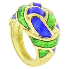 Tiffany & Co. Schlumberger Blue and Green Enamel Dome Ring