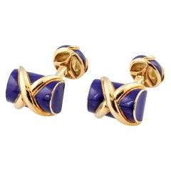 Tiffany & Co. Schlumberger Blue Enamel and Gold Log Cufflinks