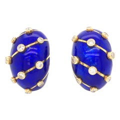 Tiffany & Co. Schlumberger Blue Enamel Diamond Banana Clip-On Earrings 18K Gold