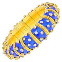 Tiffany & Co. Schlumberger Blue Enamel Diamond Bracelet