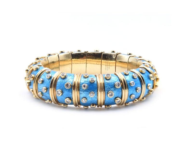 Round Cut Tiffany & Co. Schlumberger Blue Paillonne Enamel and Diamond Bangle Bracelet For Sale