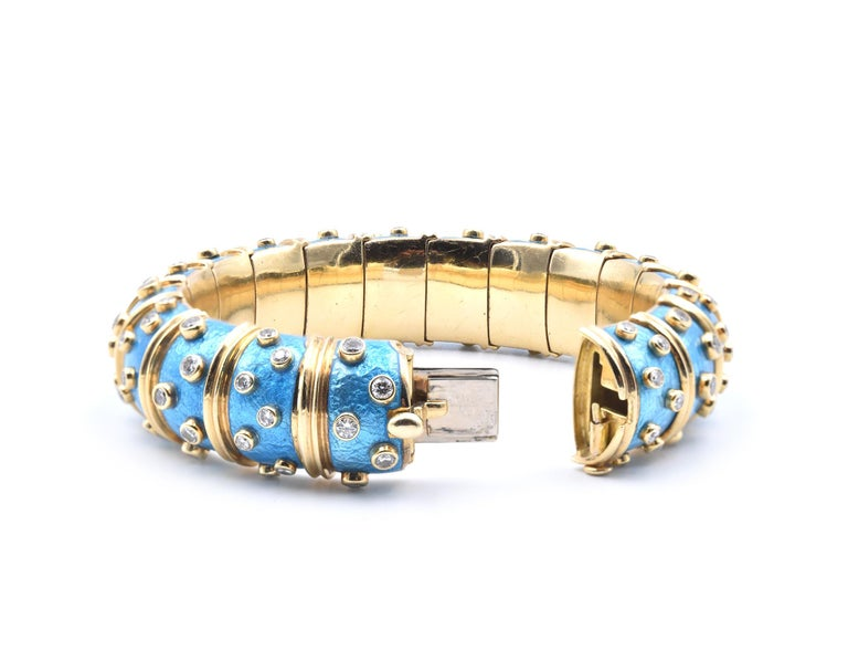 Tiffany & Co. Schlumberger Blue Paillonne Enamel and Diamond Bangle Bracelet In Excellent Condition For Sale In Scottsdale, AZ