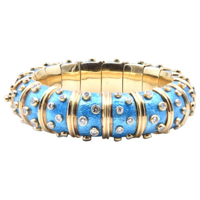 Tiffany & Co. Schlumberger Blue Paillonne Enamel and Diamond Bangle Bracelet For Sale