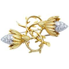 Tiffany & Co. Schlumberger Charming 18 Karat Gold and Diamond Brooch Pin