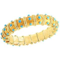 Tiffany & Co. Schlumberger Coral & Turquois and Bezel Set Diamond Bangle, Narrow