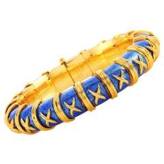 Tiffany & Co. Schlumberger Croisillon 18 Karat Yellow Gold and Enamel Bracelet