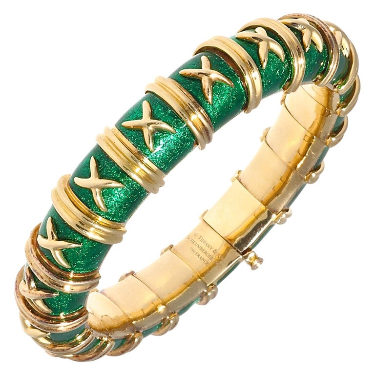 Tiffany & Co. Schlumberger Croisillon Green Enamel 18 Karat Bracelet For Sale
