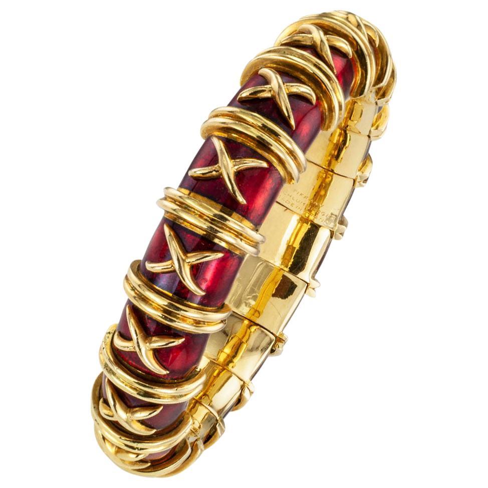 Tiffany Schlumberger Croisillon Red Enamel Gold Bangle Bracelet For Small Wrist