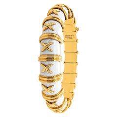 Tiffany & Co. Schlumberger Croisillon White Enamel Gold Bangle