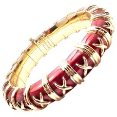 Tiffany & Co. Schlumberger Croissillon Red Enamel Yellow Gold Bangle Bracelet