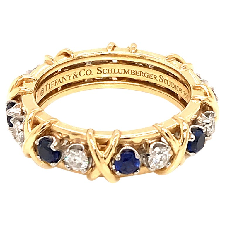 Tiffany & Co. Schlumberger Diamond and Sapphire Eternity Ring For Sale