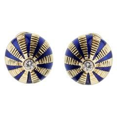 Tiffany & Co Schlumberger Diamond Enamel Gold Earrrings