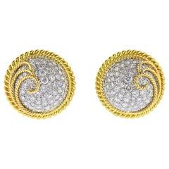 Tiffany & Co. Schlumberger Diamond Gold Platinum Earrings