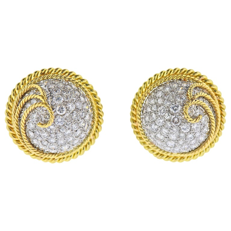 Tiffany & Co. Schlumberger Diamond Gold Platinum Earrings For Sale