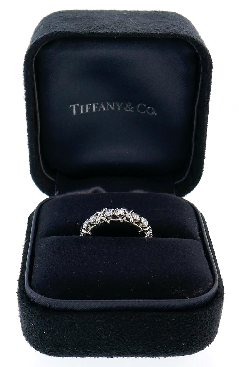 Tiffany & Co. Schlumberger Diamond Platinum Band Ring In Excellent Condition For Sale In Beverly Hills, CA