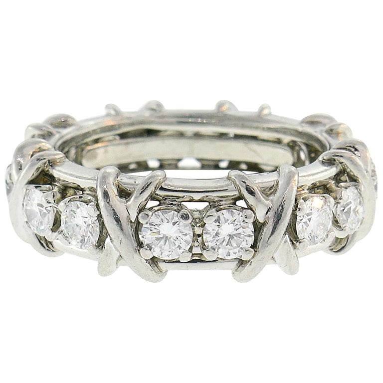 Tiffany & Co. Schlumberger Diamond Platinum Band Ring For Sale