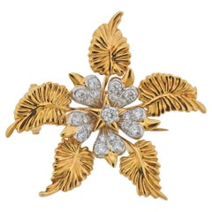 Tiffany & Co. Schlumberger Diamond Platinum Gold Brooch Pin