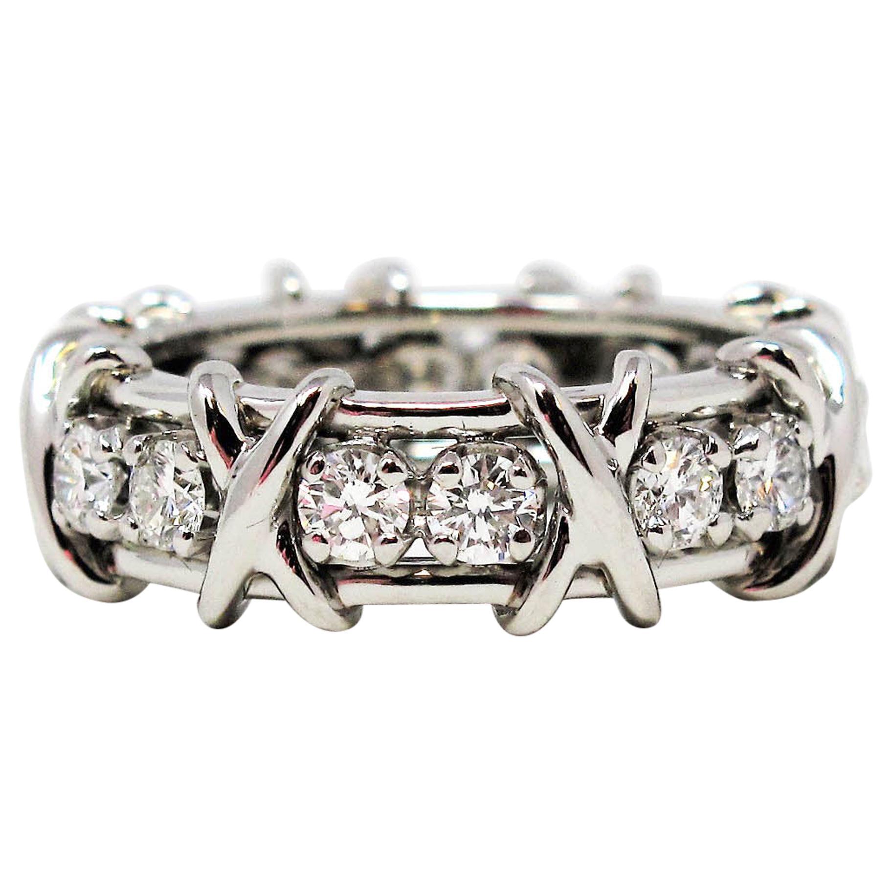 Tiffany & Co. Schlumberger Diamond Sixteen-Stone Platinum Band Ring Size 6