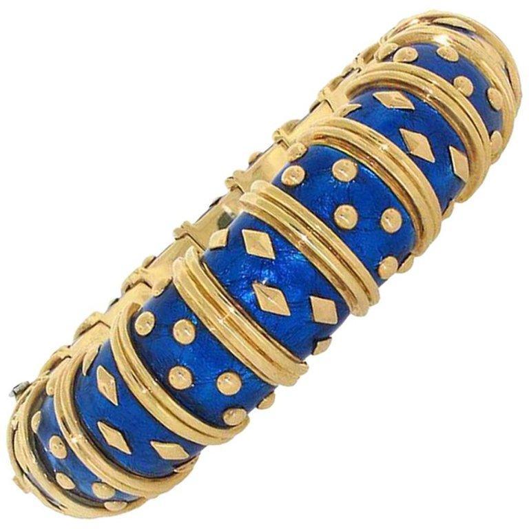 Tiffany & Co. Schlumberger Dot Losange Blue Enamel Bangle Bracelet  157 gram 18K For Sale