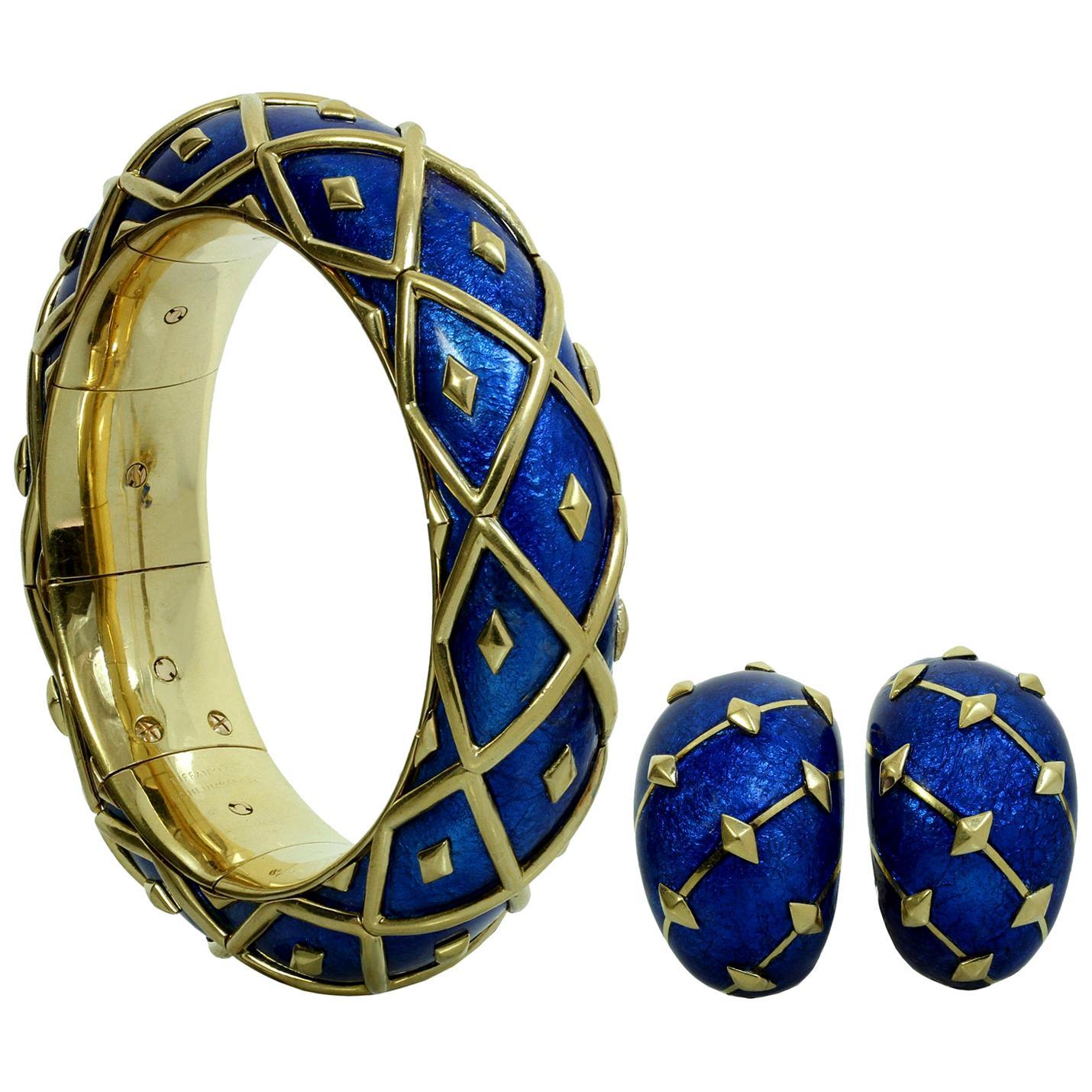 Tiffany & Co. Schlumberger Dot Losange Blue Enamel Bangle Bracelet and Earrings