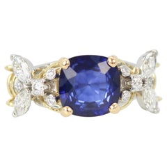 Tiffany & Co. Schlumberger Double Bee Ring with Blue Sapphire Diamonds