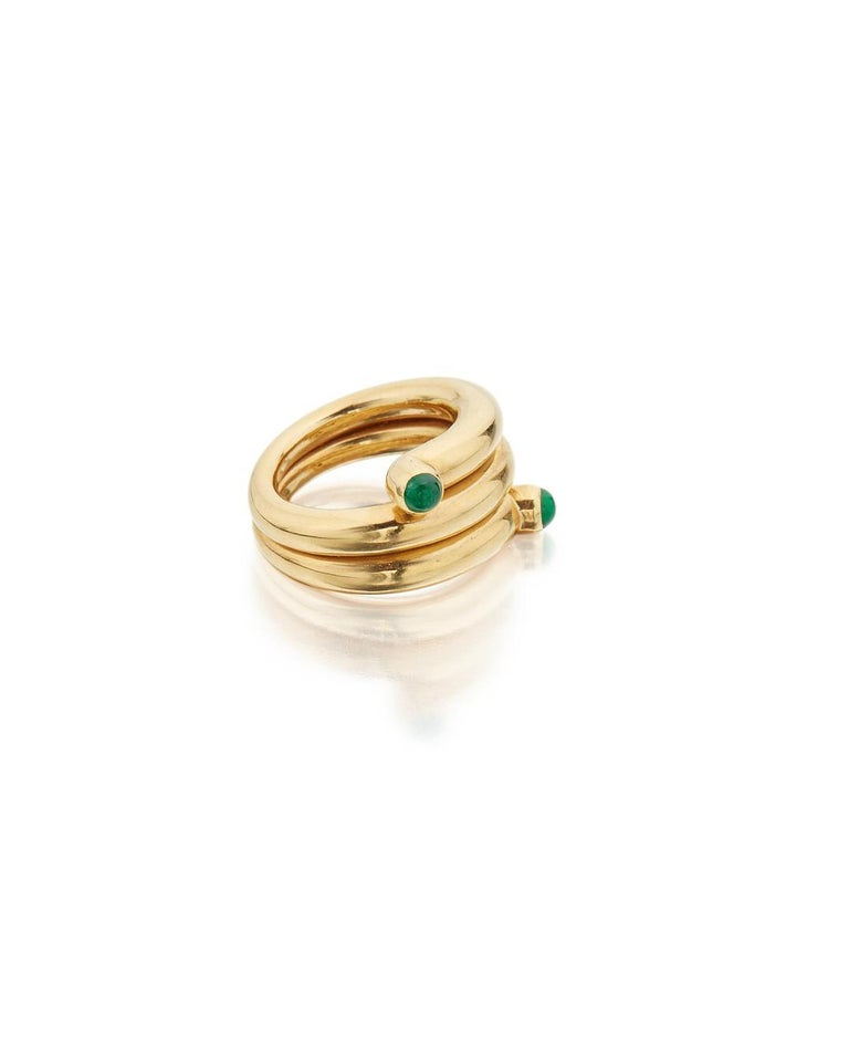 Women's Tiffany & Co. Schlumberger Emerald and Gold Coil Ring For Sale