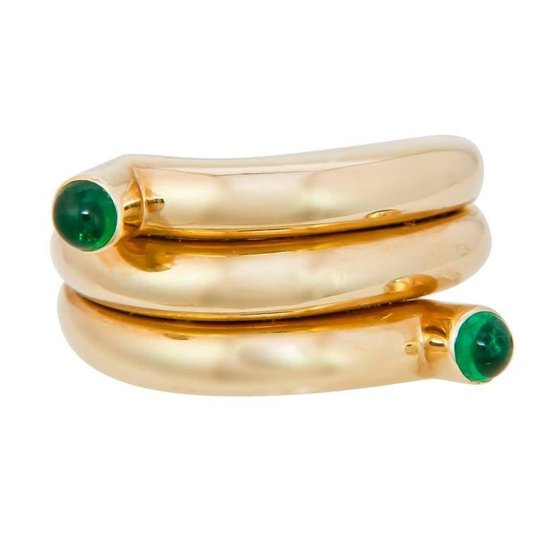 Tiffany & Co. Schlumberger Emerald and Gold Coil Ring For Sale 1