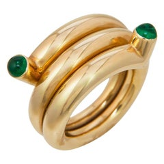 Tiffany & Co. Schlumberger Emerald and Gold Coil Ring