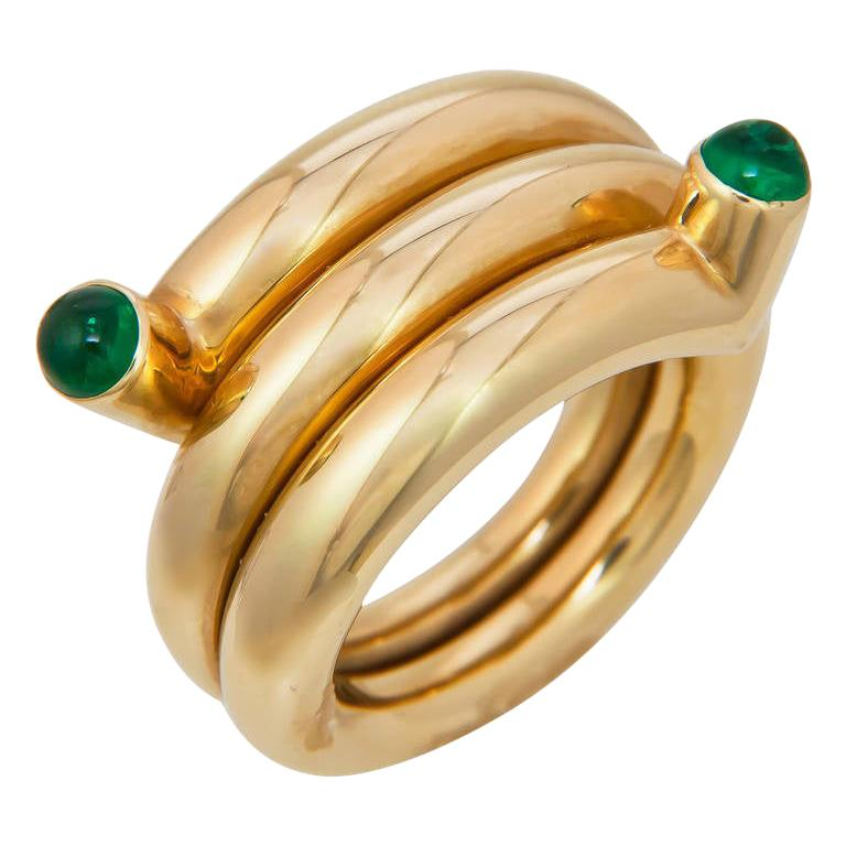 Tiffany & Co. Schlumberger Emerald and Gold Coil Ring For Sale