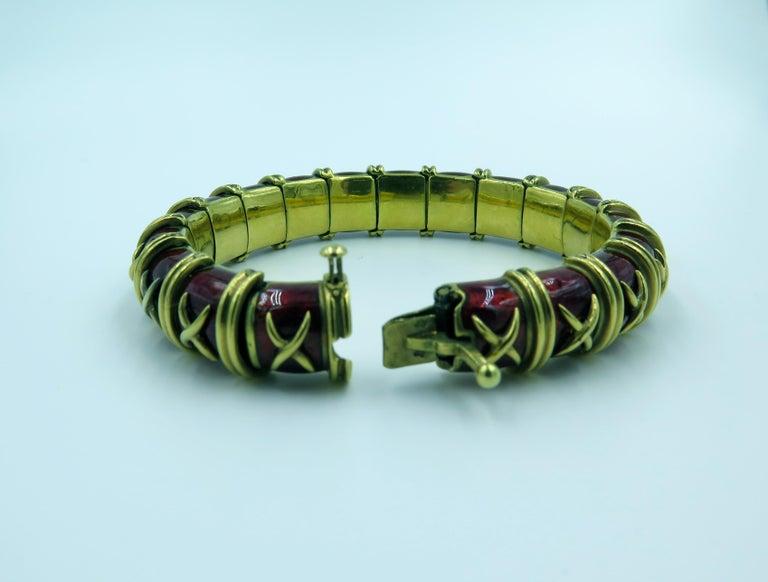 Women's Tiffany & Co., Schlumberger Enamel and Gold Bangle Bracelet