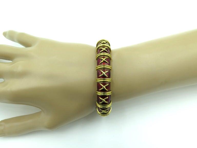 Tiffany & Co., Schlumberger Enamel and Gold Bangle Bracelet 1