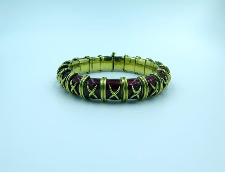 Tiffany & Co., Schlumberger Enamel and Gold Bangle Bracelet 2