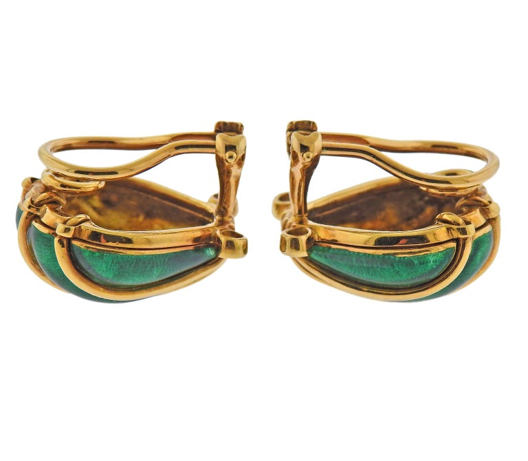 Pair of 18k gold shell motif earrings by Jean Schlumberger for Tiffany & Co, with bright green enamel and approx. 0.24ctw in G/VS diamonds.  Earrings are 20mm x 18mm. Weight - 20.9 grams. Marked: Tiffany & Co, Schlumberger, 750.