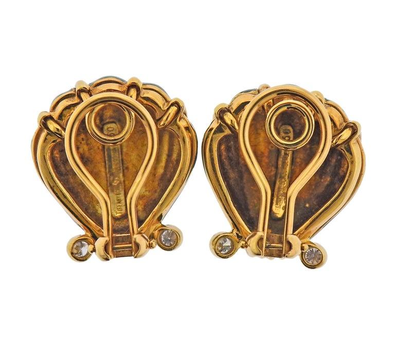 Round Cut Tiffany & Co. Schlumberger Enamel Diamond Shell Earrings For Sale