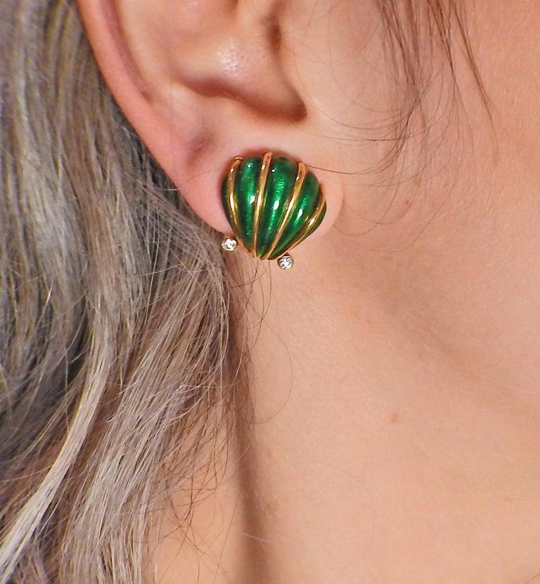 Women's Tiffany & Co. Schlumberger Enamel Diamond Shell Earrings For Sale