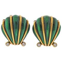 Tiffany & Co. Schlumberger Enamel Diamond Shell Earrings