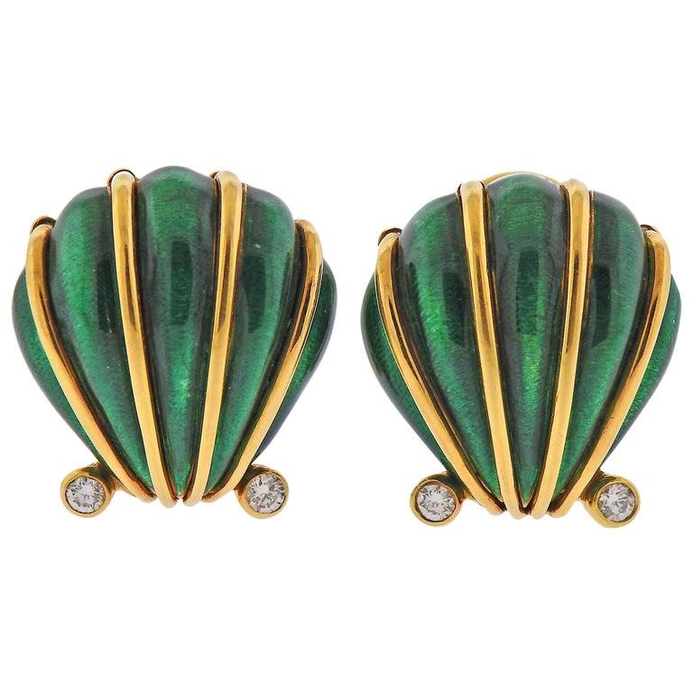 Tiffany & Co. Schlumberger Enamel Diamond Shell Earrings For Sale
