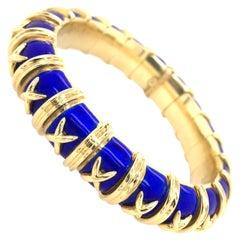 Tiffany & Co, Schlumberger Gold and Blue Enamel Croisillon Bangle Bracelet